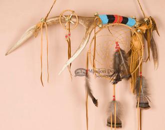 Tigua Indian Dreamcatcher Medicine Stick - Elk Antler
