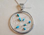 Native American Silver & Turquoise Dream Catcher Pendant Necklace
