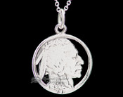 "Native Silver Pendant Necklace 20"" -Indian Head"