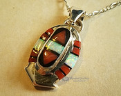 """Inlaid Silver Pendant & Necklace 20"""""""