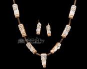 """Zuni Indian Carved Antler Owl Necklace & Earring Set 34"""""""