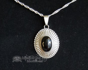 Southwest Sterling Silver Pendant & Necklace-Oval 2""
