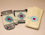 Southwestern oven mitt, pot holder and 2-piece towel kitchen set.
