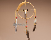 Navajo Deer Skin Medicine Wheel with Skull Adornment