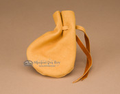 "Native American Deer Skin Medicine Pouch 4"" -Gold"