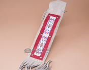 "Native American Beaded Leather Side Bag 17"" -Tigua (b39)"