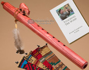 Native American Jonah Thompson cherry finish flute with bear fetish.