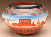 "Native American Etched Pottery Vase 7.5"" -Navajo (p208)"