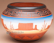 Hand Etched Navajo Indian Clay Vase