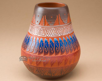 Hand etched and painted Navajo pottery