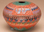 """Etched Navajo Indian Pottery Vase 6"""" -Bear (p335)"""