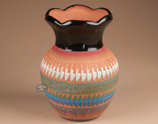 """Indian Pottery Etched Clay Vase 8.5"""" -Navajo (p339)"""