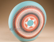 """Etched Navajo Indian Pottery Flat Vase 11"""" (p342)"""