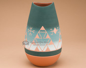 Matte Finish Etched Bullet Vase -Green
