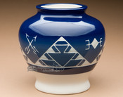 "Native Sioux Harvest Vase 6.5"" -Oglala Blue Glazed (p633)"