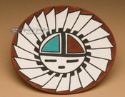 Tigua Painted Pottery Plate - Sunface