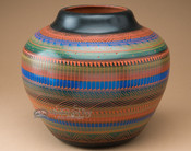 """Etched Navajo Indian Pottery Vase 10.5"""" (p331)"""