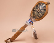 Native American Turtle Shell Rattle-Blue