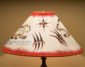 "Hand Painted Rustic Leather Lampshade 20"" -Bear"