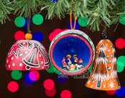 Christmas Gourd Ornament - 3 Piece Set