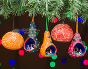 Southwest Gourd Ornaments - 6 Piece Set