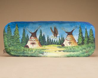 Hand Painted Log Bowl - Eagle/Indian Village
