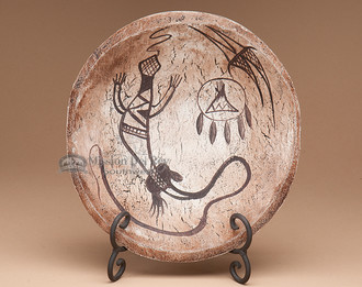 Painted Wooden Bowl with Stand - Lizard