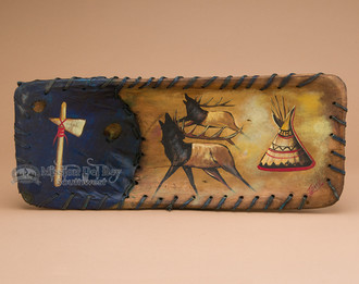 Rawhide Laced Painted Wooden Bowl - Elks