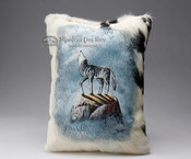 Painted Cowhide Pillow - wolf 12x18