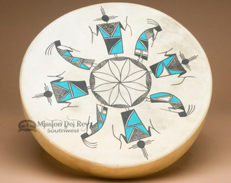 Native American Tigua Indian Painted Drum
