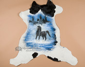 Western Painted Cow Hide - Black Stallion