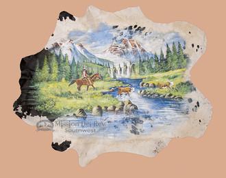 Hand Painted Large Cowhide - Western Scene