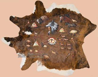 Hand Painted Large Cowhide - Native Cave Art