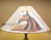 "20"" Painted Leather Lamp Shade -Horse"
