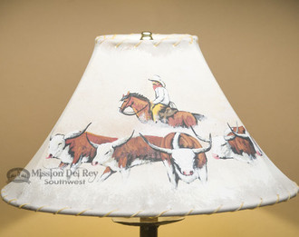 """16"""" Painted Leather Lamp Shade - Cattle Drive"""