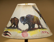 "15"" Painted Leather Lamp Shade - Bear & Buffalo"