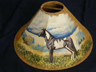 """20"""" Painted Leather Lamp Shade -Painted Pony"""