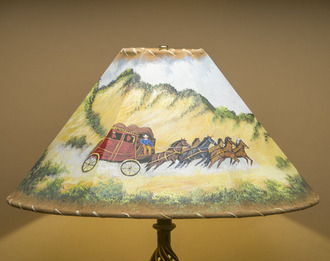 20 Quot Painted Leather Lamp Shade Stage Coach