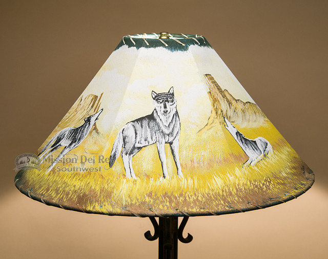 20 Quot Painted Leather Lamp Shade Wolf Pack Pl40 Mission