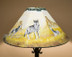 """20"""" Painted Leather Lamp Shade -Wolf Pack"""