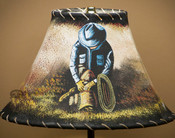 """Painted Leather Lamp Shade - 12"""" Cowboy"""
