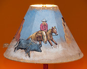 """Painted Leather Lamp Shade - 15"""" Cowgirl"""