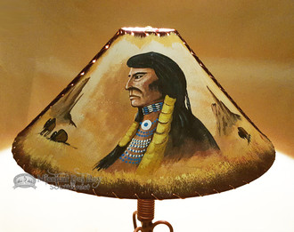"""24"""" Painted Leather Lamp Shade -Indian Chief"""