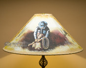 "24"" Painted Leather Lamp Shade -Cowboy"