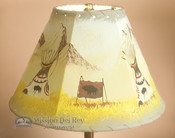 "Painted Leather Lamp Shade - 12"" -Indian Village"