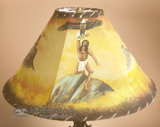 "Painted Leather Lamp Shade 20"" -Indian Eagle"
