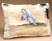 Painted Cowhide Pillow -Cowboy