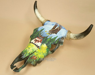 Hand Painted Steer Skull -  Eagle Village