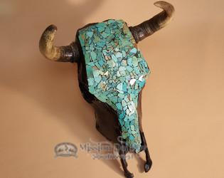 Southwestern Turquoise Steer Skull For Rustic Decor