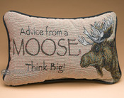 Rustic Word of Advice Pillow 12x8 -Moose